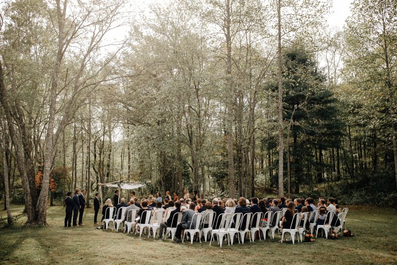 sugarboo farms ceremony in the woods